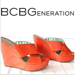 🥰 BCBGeneration Orange Patent Leather Wedges